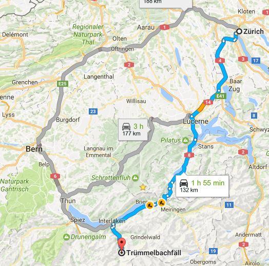 водопад Трюммельбах Как посетить водопад Трюммельбах (и стоит ли он того) trummel map