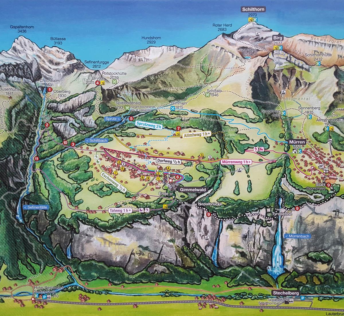 Schilthorn Hike to Gimmelwald • Swiss Family Fun on eiger map, schaffhausen map, hook of holland map, montreux map, verbier map, grosse scheidegg map, st. moritz map,
